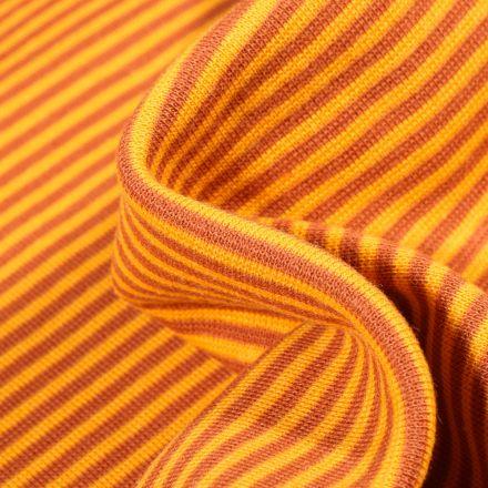 Tissu Bord côte  Rayé orange sur fond Jaune