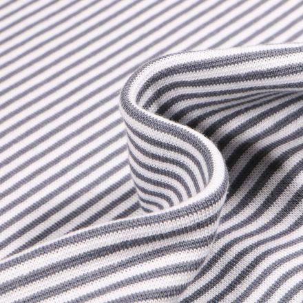 Tissu Bord côte  Rayé gris sur fond Blanc