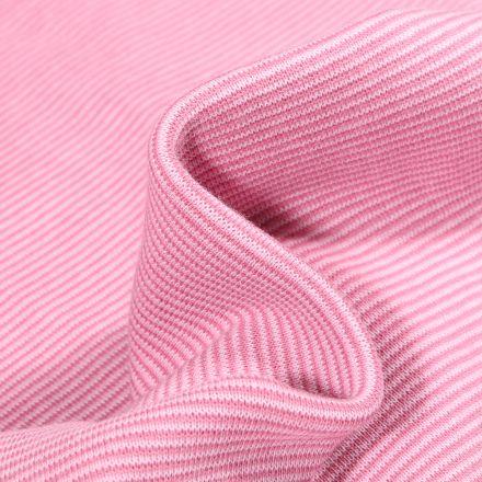 Tissu Bord côte Fines rayures rose sur fond Blanc