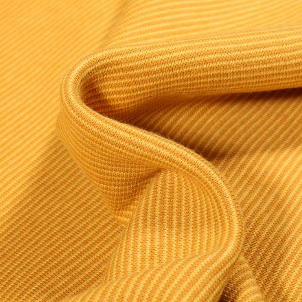 Tissu Bord côte Fines rayures jaune sur fond Jaune vif