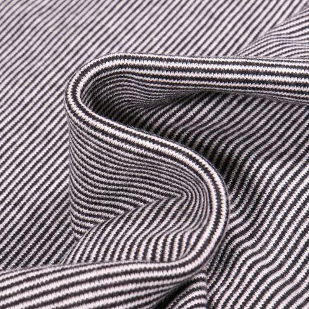 Tissu Bord côte Fines rayures noires sur fond Blanc