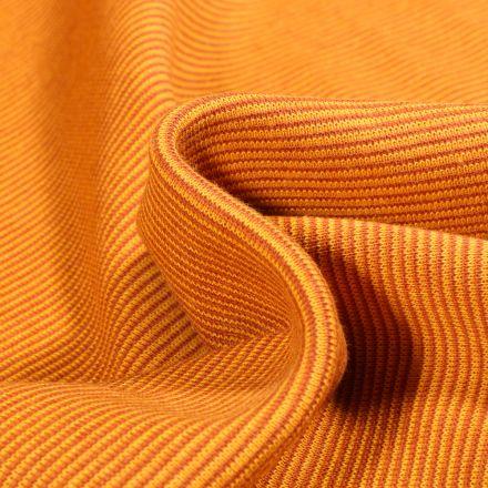 Tissu Bord côte Fines rayures orange sur fond Jaune