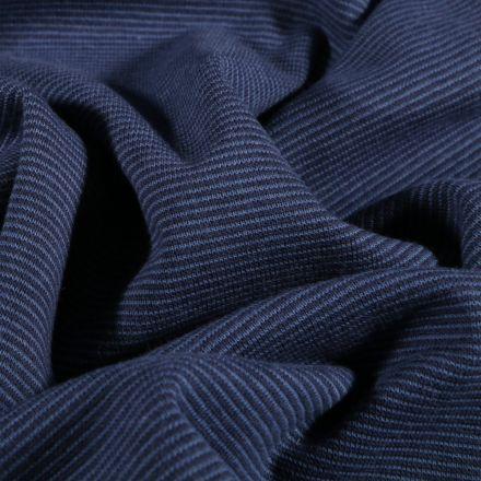 Tissu Bord côte Rayures bleu sur fond Bleu marine - Par 10 cm
