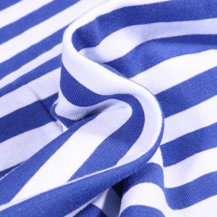 Tissu Jersey Coton Rayures 1cm sur fond Bleu roi