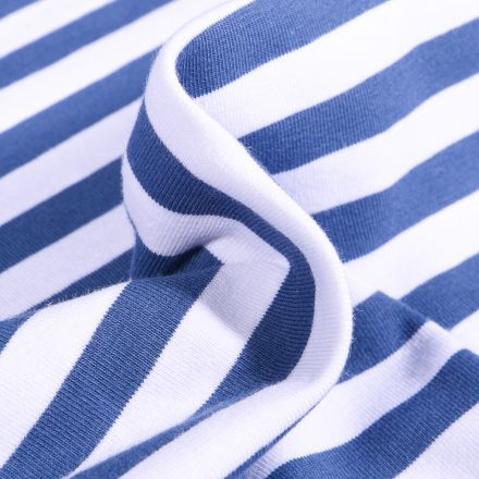 Tissu Jersey Coton Rayures 1cm sur fond Bleu denim