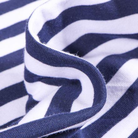 Tissu Jersey Coton Rayures 1cm sur fond Bleu marine