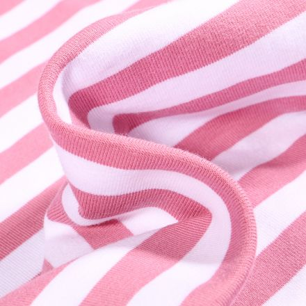 Tissu Jersey Coton Rayures 1cm sur fond Vieux rose