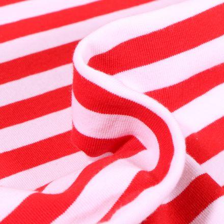 Tissu Jersey Coton Rayures rouges sur fond Blanc