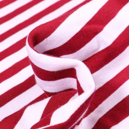 Tissu Jersey Coton Rayures 1cm sur fond Rouge