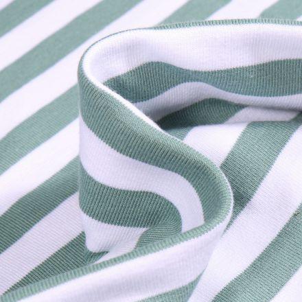 Tissu Jersey Coton Rayures 1cm sur fond Vert d'eau