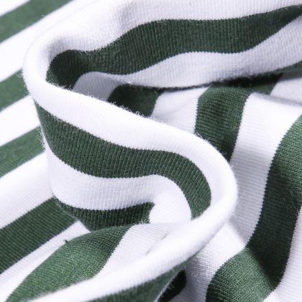 Tissu Jersey Coton Rayures 1cm sur fond Vert foncé