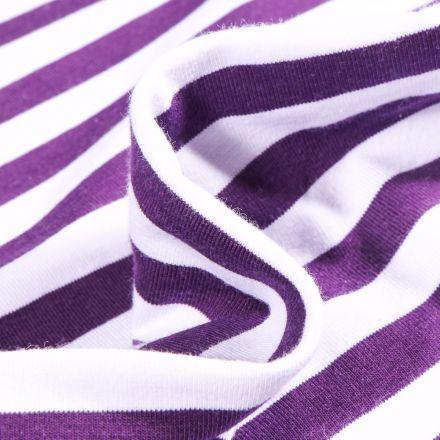 Tissu Jersey Coton Rayures 1cm sur fond Violet