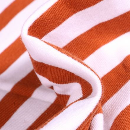 Tissu Jersey Coton Rayures 1cm sur fond Orange