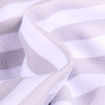 Tissu Jersey Coton Rayures 1cm sur fond Gris clair