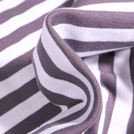 Tissu Jersey Coton Rayures 1cm sur fond Gris anthracite