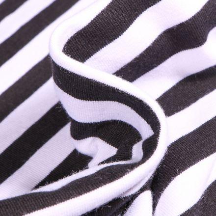 Tissu Jersey Coton Rayures 1cm sur fond Noir