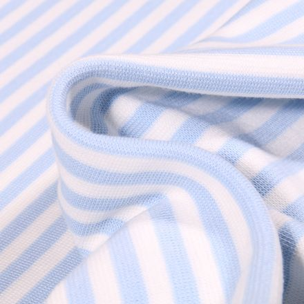 Tissu Bord côte Rayures 5mm bleu layette sur fond Blanc