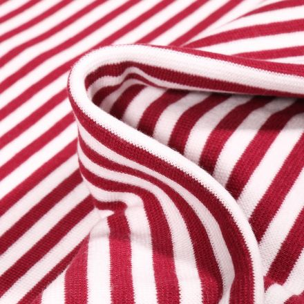 Tissu Bord côte Rayures 5mm bordeaux sur fond Blanc