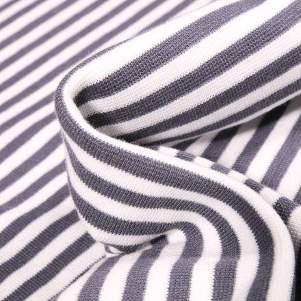 Tissu Bord côte Rayures 5mm anthracite sur fond Blanc