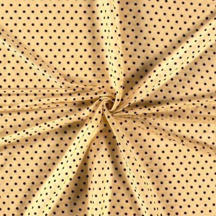 Tissu Mousseline ajourée Lurex Pois relief velours Noirs sur fond Or - Par 10 cm