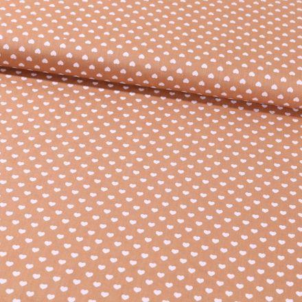 Tissu Coton Imprimé Coeurs 5 mm blancs sur fond Camel - Par 10 cm