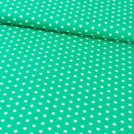 Tissu Coton Imprimé Etoiles 9 mm Blanches sur fond Vert - Par 10 cm