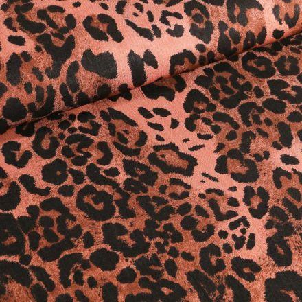 Tissu Jean satiné Leopard  Rouille - Par 10 cm