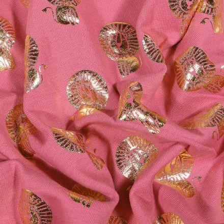 Tissu Jersey Coton Lions métallisés dorés sur fond Rose - Par 10 cm