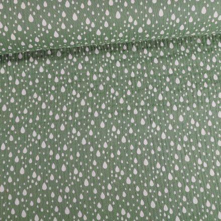 Tissu Double gaze Gouttes blanches sur fond Vert kaki clair - Par 10 cm