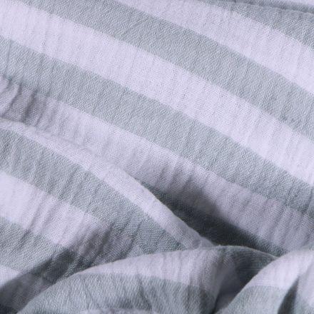 Tissu Double gaze Rayures vertes claires sur fond Blanc - Par 10 cm