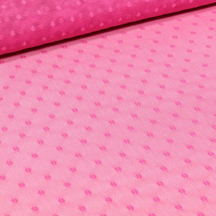 Tissu Tulle souple à pois  rose sur fond Rose fuchsia