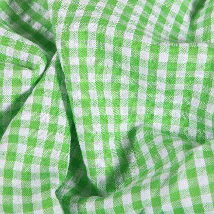Tissu Seersucker Vichy  vert sur fond Blanc - Par 10 cm