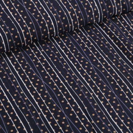 Tissu Mousseline Rayures et pois beige sur fond Bleu marine - Par 10 cm