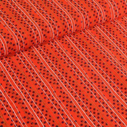 Tissu Mousseline Rayures et pois noir sur fond Orange - Par 10 cm