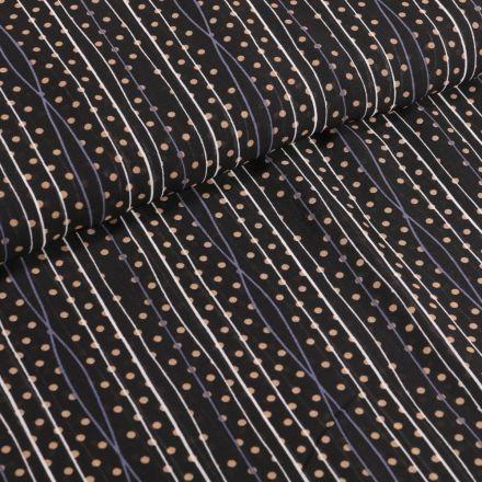Tissu Mousseline Rayures et pois beige sur fond Noir - Par 10 cm