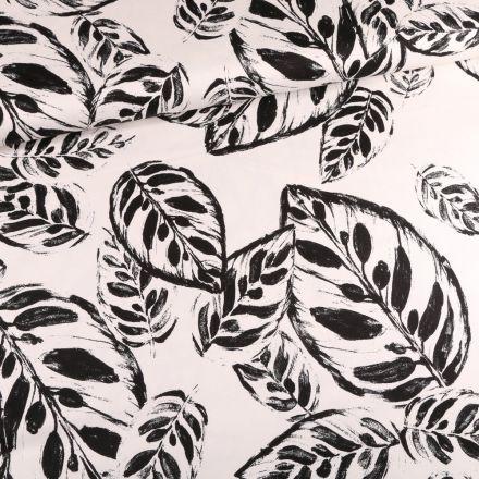 Tissu Coton Satiné extensible Feuilles encre sur fond Blanc - Par 10 cm