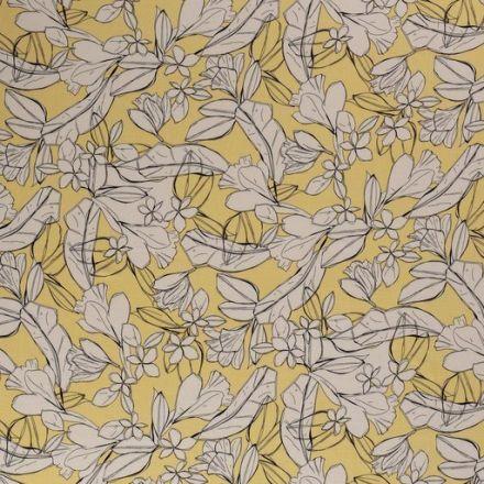 Tissu Jersey Viscose Esquisse de fleurs sur fond Jaune - Par 10 cm