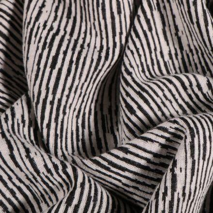 Tissu Maille Jacquard Rayures destructurés sur fond Blanc - Par 10 cm
