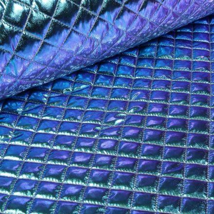 Tissu Doudoune matelassé  Holographique sur fond Bleu - Par 10 cm