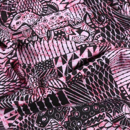 Tissu Jersey Coton Motifs ethniques panthère sur fond Rose - Par 10 cm