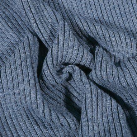 Tissu Bord côte Côtelé Bleu denim - Par 10 cm