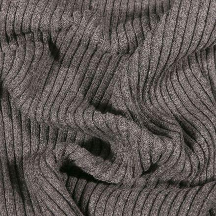 Tissu Bord côte Côtelé Gris foncé - Par 10 cm