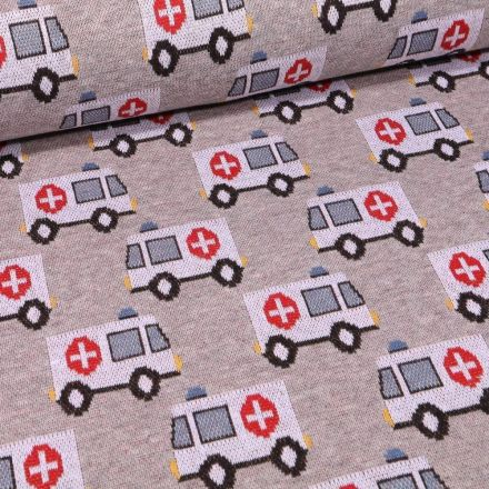 Tissu Sweat Maille Ambulances sur fond Gris chiné - Par 10 cm