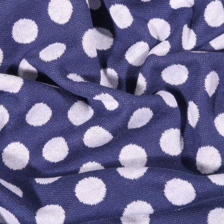 Tissu Sweat Maille Pois blancs sur fond Bleu marine - Par 10 cm