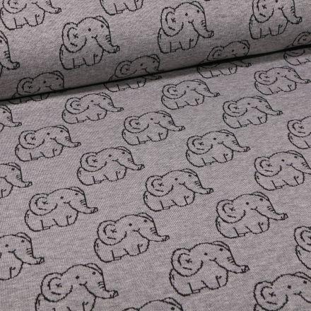 Tissu Sweat Maille Eléphants sur fond Gris chiné - Par 10 cm