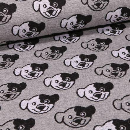 Tissu Sweat Maille Têtes de chiens sur fond Gris chiné - Par 10 cm