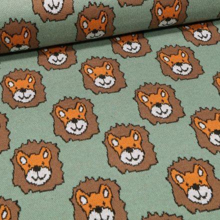 Tissu Sweat Maille Tête de lion sur fond Vert d'eau - Par 10 cm