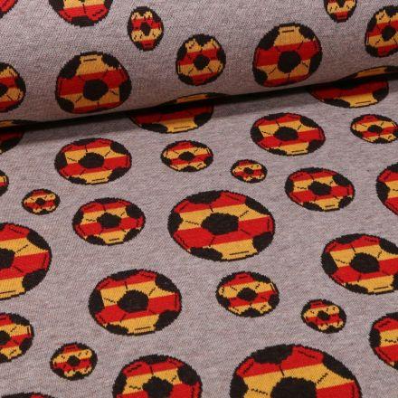 Tissu Sweat Maille Ballon rouge et jaune sur fond Gris chiné - Par 10 cm