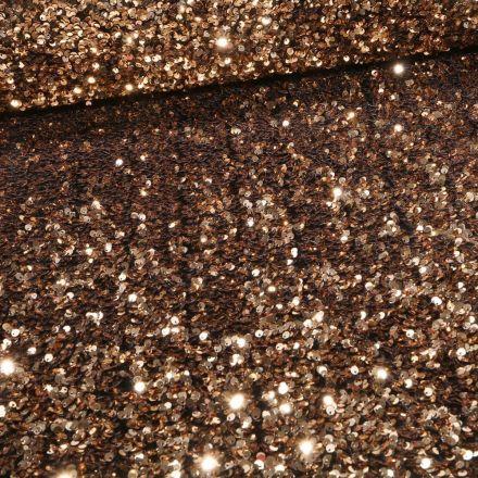 Tissu Sequins épais extensible Or - Par 10 cm