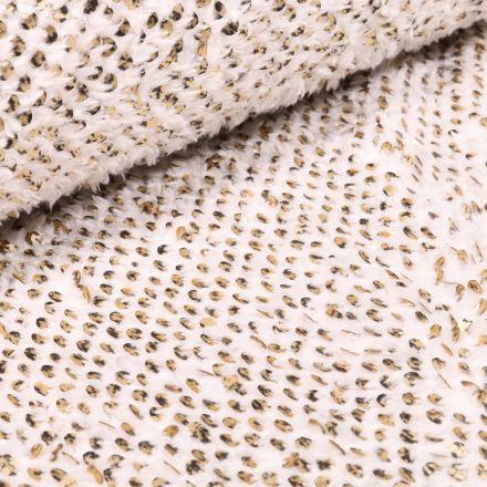 Tissu Fausse fourrure Doudou  Sequins dorés sur fond Blanc